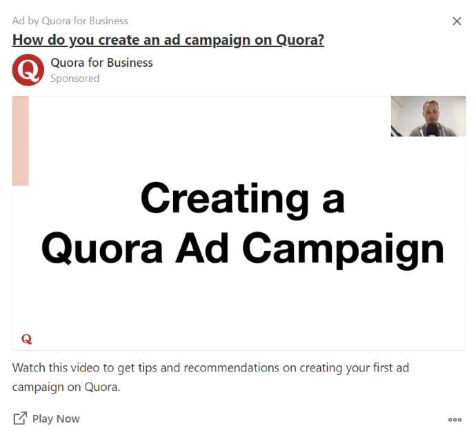 Quora advertising example