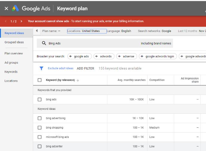 Google Planner Keyword Research